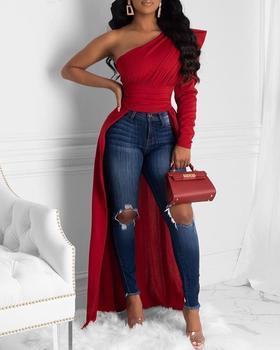 цена на 2020 Spring Elegant Women Solid One Shoulder Dip Hem Blouse Women Long Sleeve Skew Collar Asymmetrical Casual Blouses Tops