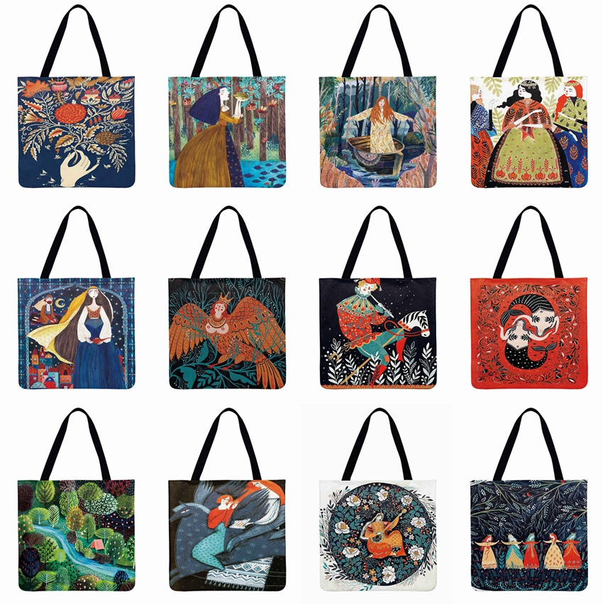 Ladies Shoulder Bag Forest Girl Print Tote Bag Cartoon Illustrations Casual Totes Foldable Shopping Bag Outdoor Beach Bag