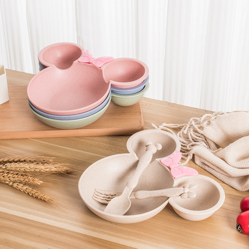 Natural Wheat Straw Bowl Baby Cartoon Tableware Set Toddler Kids Dinner Feeding Food Plate Children Training Bowl Spoon Fork