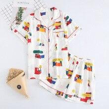 Pyjamas Women 100% Cotton Short Sleeves Ladies Pajama Sets S