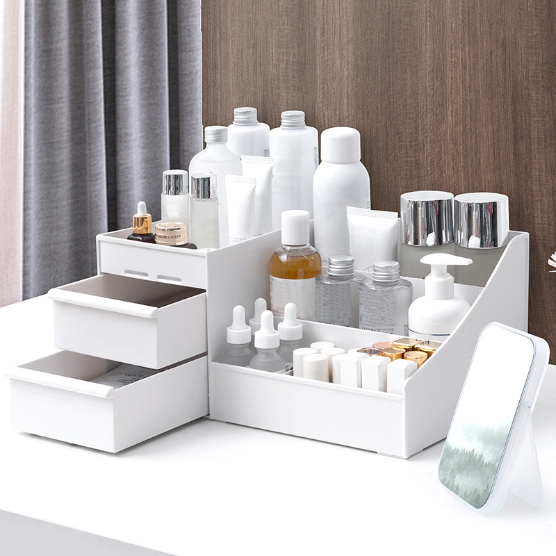 Large Capacity Cosmetic Storage Box Plastic Drawer Organizer Dressing Table Skin Care Rack Cotton Swabs Stick Container