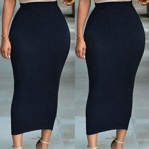 Stretch-Knit Pencil Skirt Women's High Waist Below Knee Midi Fitted Work Office Lady Casual Long Skirt Solid Color