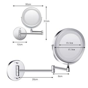 Image 3 - Duvara monte banyo aynası led makyaj aynası 1X/5X büyütme ayarlanabilir kozmetik ayna USB şarj dokunmatik karartma aynalar