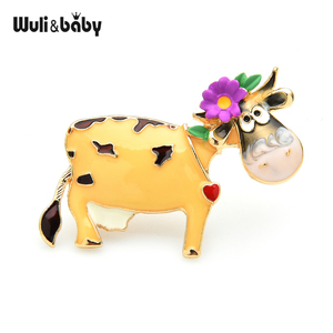 Wuli&baby Wear Flower Cattle Brooches For Women 3-color Enamel Cow Party Brooch Pins Gifts