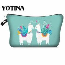 Yotina Makeup organizer Women Cosmetic Bag With Multicolor Pattern llama 3D Printing  Cosmetics Pouchs For Travel makeup bag