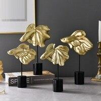 Nordic Stil Kreative Luxuriöse Gold Goldfisch Figurine Tiere Fisch Statue Harz Handwerk Wohnzimmer Dekorationen Für Home R3855
