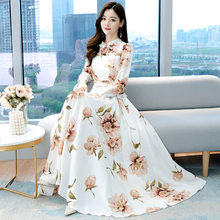 Spring and autumn 2021 new collection waist show high and thin long large print fairy long-sleeved dress retro large size