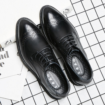 British style men casual cow leather bullock shoes carving brogue sneakers gentleman pointed toe black oxford shoe zapato hombre