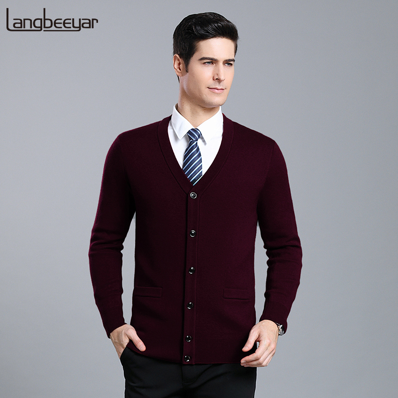 2019 New Fashion Brand Sweaters Mens Cardigan V Neck Slim Fit Jumpers Knitwear Woolen Warm Winter Casual Clothing Male