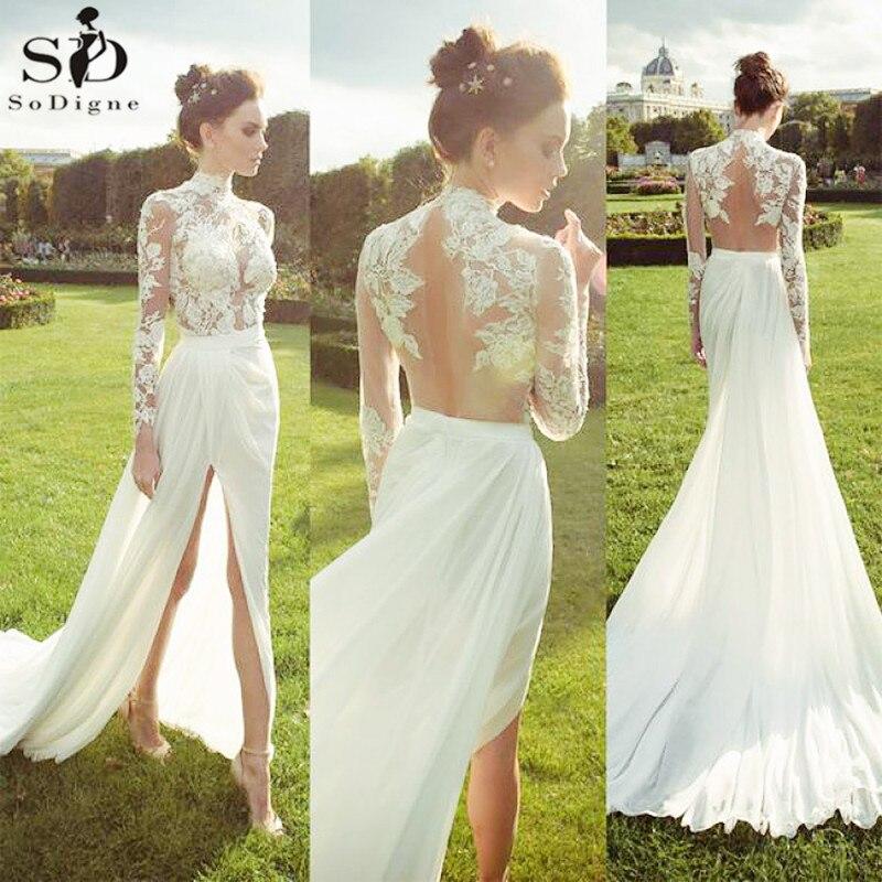High Neck Lace Wedding Dresses Long Sleeves Chiffon Bridal Gown Sexy Side Slit Beach Weeding Gowns Vestido De Noiva Aliexpress Com Imall Com,Pakistani Wedding Maxi Dresses New Look
