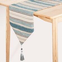 Chemin de Table géométrique moderne à rayures bleues, tissu en coton avec glands, décoration pour dîner de mariage
