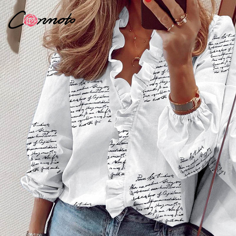 Conmoto Pineapple Print Ruffle Blouse Shirts Women Summer Short Sleeve Sexy Slim Blouses Casual Letters Office Tops Plus Size