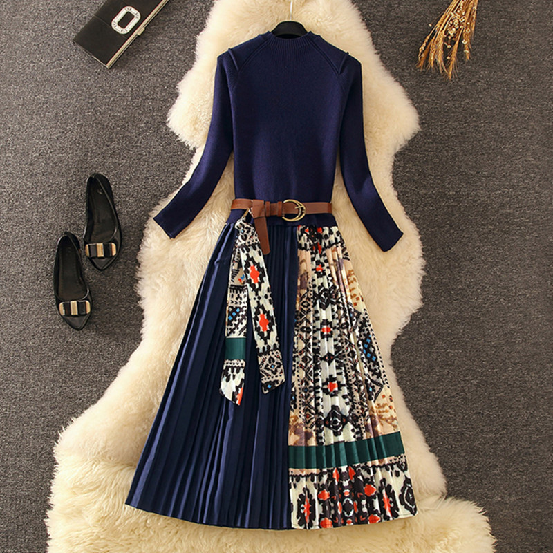 Elegant Knitted Patchwork Pleated Midi Dress 2019 Fall Winter Fashion Women Long Sleeve Ethnic Retro Printing Pleated Dress 2