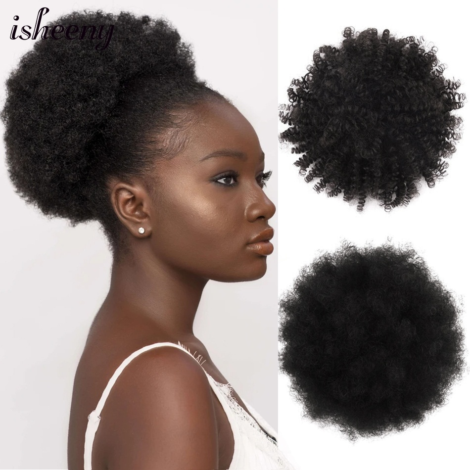 Isheeny High Puff Afro Curly Ponytail Drawstring Short Clip In 8 Inches Natural Color Machine Made Remy Afro Kinky Pony Tail 60G