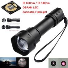 цена на 2020 New OSRAM LED flashlight T20 1 mode Outdoor Cree IR 850nm-940nm Night Vision Light Zoomable LED Hunting Ultra Flashlight