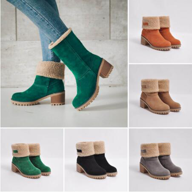 2019 Women Winter Snow Warm <font><b>Boots</b></font> 5cm High <font><b>Heels</b></font> Fur Felt Green <font><b>Boots</b></font> <font><b>Block</b></font> Low <font><b>Heels</b></font> Plush <font><b>Ankle</b></font> Booties Cheap Chunky Shoes image