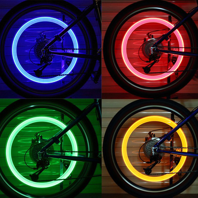 Outdoor Cycling Bike Bicycle Valve Caps Flash Light Tyre Wheel Neon LED Lamp