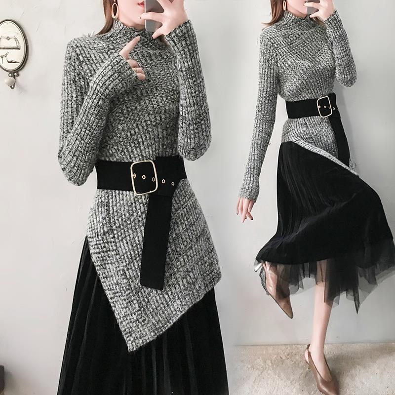 With Belt Women Irregular Turleneck Sweaters Long Skirts Suits Sashes Vintage Skirt Sets Elegant Woman Two Pieces