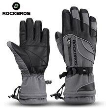 ROCKBROS  40 градусов зимние велосипедные перчатки, термостойкие, водонепроницаемые, ветрозащитные, Mtb, велосипедные перчатки для катания на лыжах, походов, снегоходов, мотоциклов