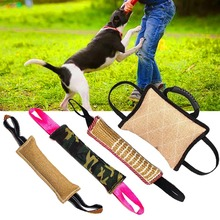 Dog Biting Pillow Tug Stick Hemp Training Chewing Durable Linen Molar Clean Teeth Interactive Toys Outdoor 2 Rope Pets Supplies