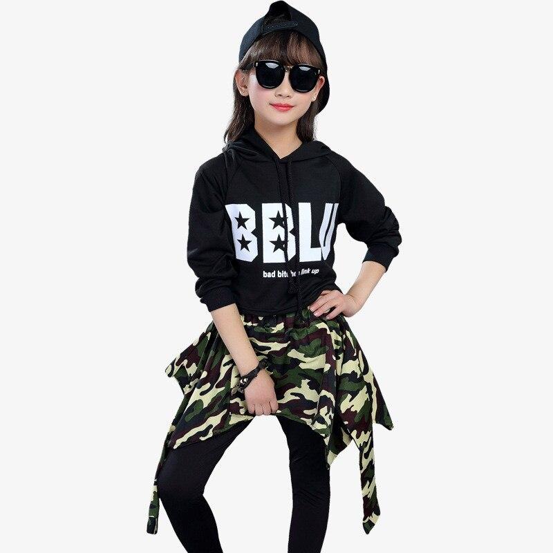Image 4 - Kids Fashion Street Dance Hip Hop Dance Clothing Girls Ballroom Jazz Dance Costume Children Crop Tops+Pants Skirts 2 Piece SetsClothing Sets   -