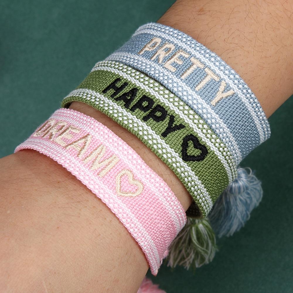 Women Adjustable Braided Tassel Bracelet Handmade Embroidery Rope Bracelets For Women Vintage Fashion Wide Cuff Jewelry Gifts