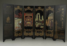 цена на Chinese Old Lacquer Handwork Painting Beijing Scenery Screen Decoration
