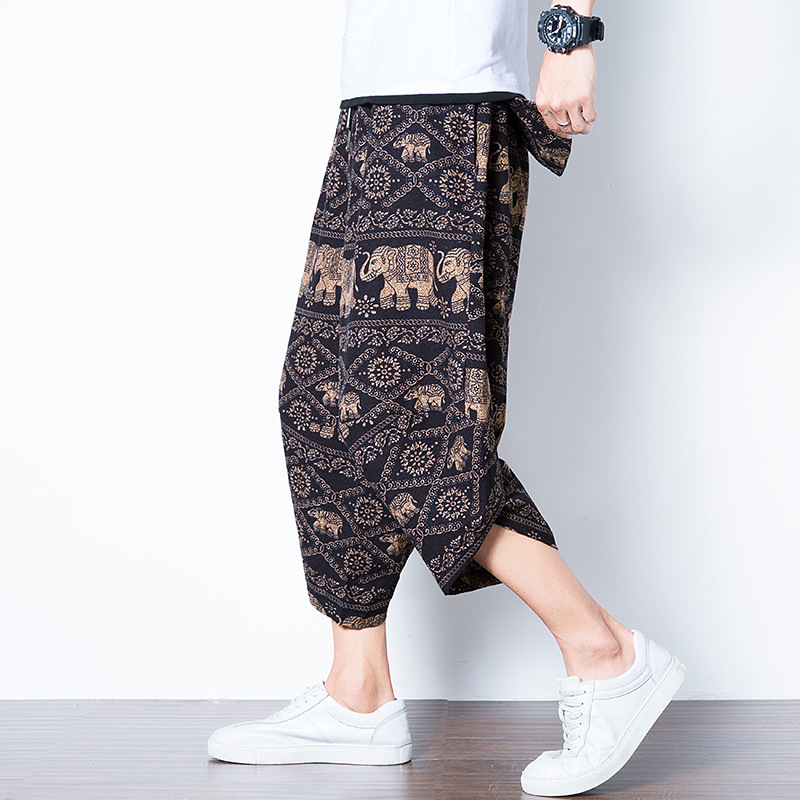 Summer Teenager Loose-Fit Skinny Pants Chinese-style Retro Large Size Nepal Pants Thailand Cool Versatile Elephant Pants