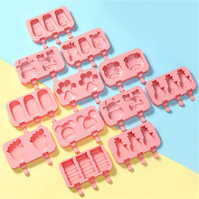DIY Silicone Ice Cream Mold Popsicle Molds Maker Holder Frozen Ice Mould with Popsicle Sticks lid kitchen Ice Tray  Candy Bar