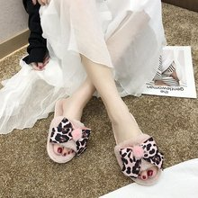 Liren 2019 New Summer Bow Fur Slides Women Slippers Warm Flip Flops Leopard Fluffy Soft Flat Funny Home Indoor Shoes