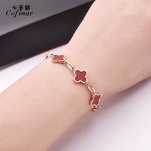 fashion temperament black red four-leaf clover titanium steel Rose Gold Female fine Bracelet accessories new style(China)