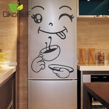 Cikonielf домашний декор счастливое вкусное лицо наклейка смайлик стенка холодильника Окно Зеркало Наклейка на холодильник s черный 40*30 см