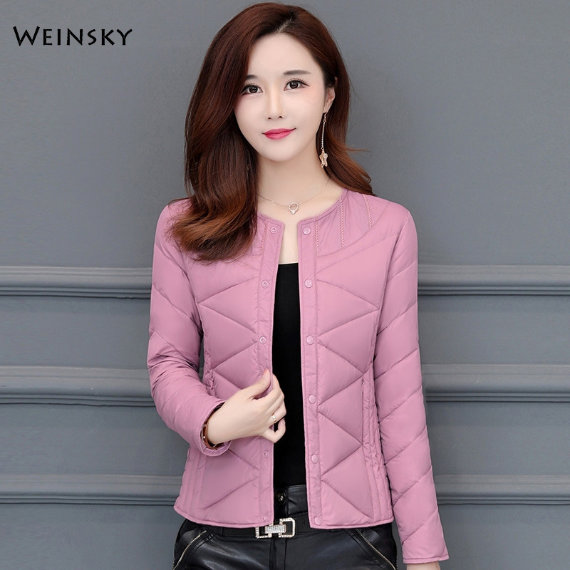 Winter Women Thin Down Jacket White Duck Down Jackets Long Sleeve Warm Slim Coat Parka Female Elegant Outwear