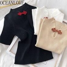 OCEANLOVE – T-shirt tricoté pour femmes, Style chinois solide, Vintage, à la mode, élégant, été 2020, 17006