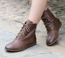 Ankle Boots for women  flats warm shoes gladiator Booties vintage PU leather round toe lace up flat Shoe c38