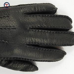 Image 5 - CHING YUN winter hand stitched mens deerskin gloves deer skin mens warm soft mens black corrugated gloves 70% wool lining