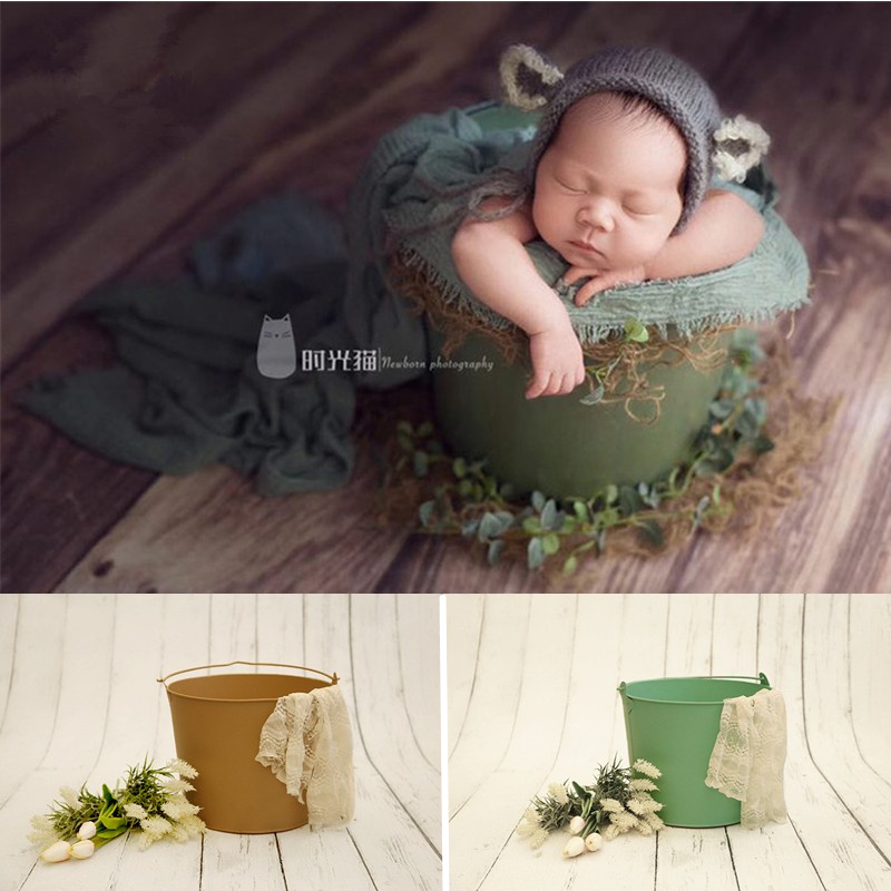 Newborn Photography Accessories Solid Color Iron Bucket Studio Props Newborn Baby Props Baskets Newborn Posing Chair Sofa Boy