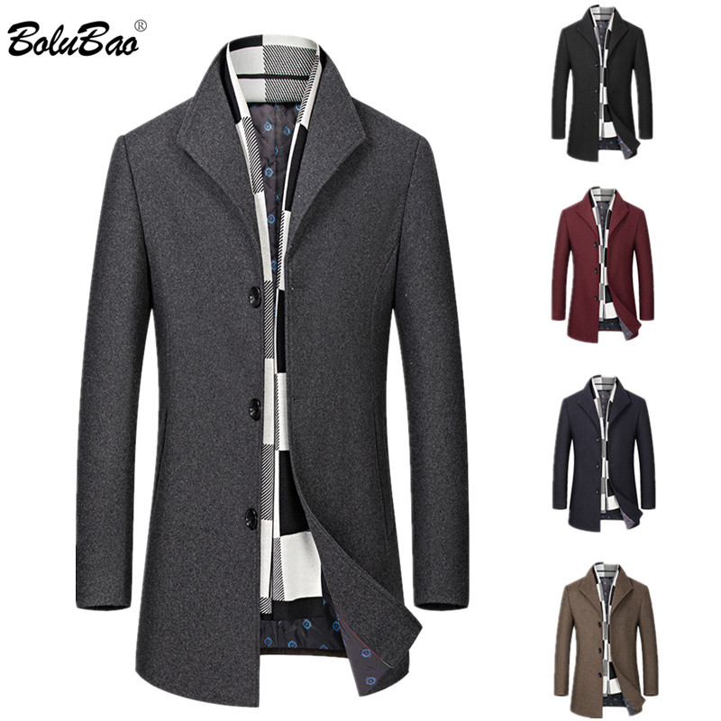 BOLUBAO Wool Blend Coats Men Winter New Men's Solid Color Casual Wool Overcoat Quality Brand Business Trend Wool Coat Male