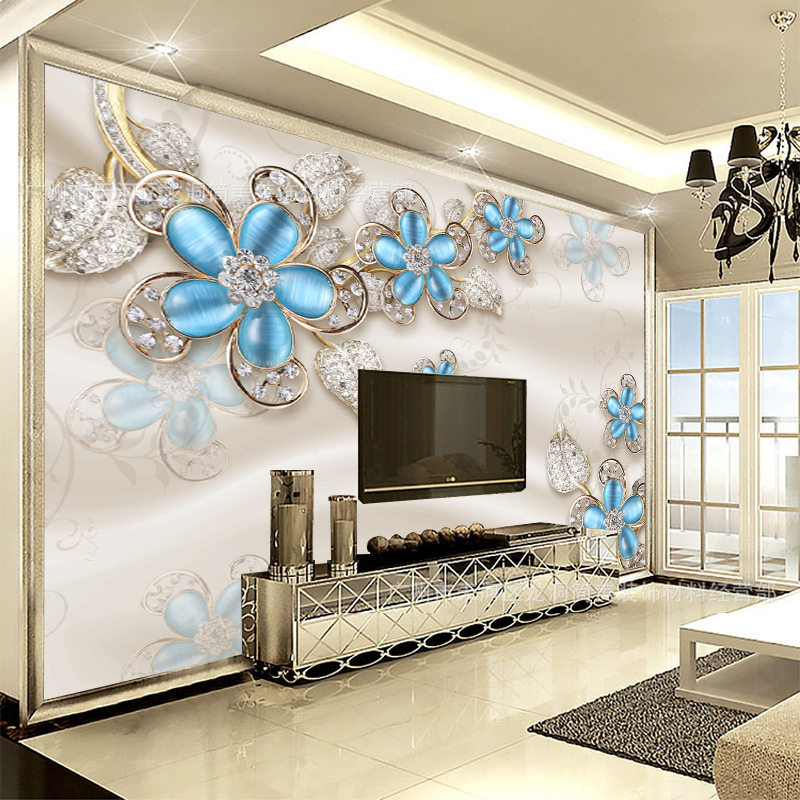 European Style Wallpaper Mural TV Backdrop Luxury 3D Relief Flower Living Room Bedroom Nonwoven Fabric Film And Television Wall