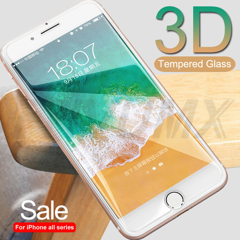 3D Tempered Glass On For IPhone 7 8 6 6S Plus 5 5S SE Anti-Burst Screen Protector For IPhone 11 Pro XS Max XR X Protective Film