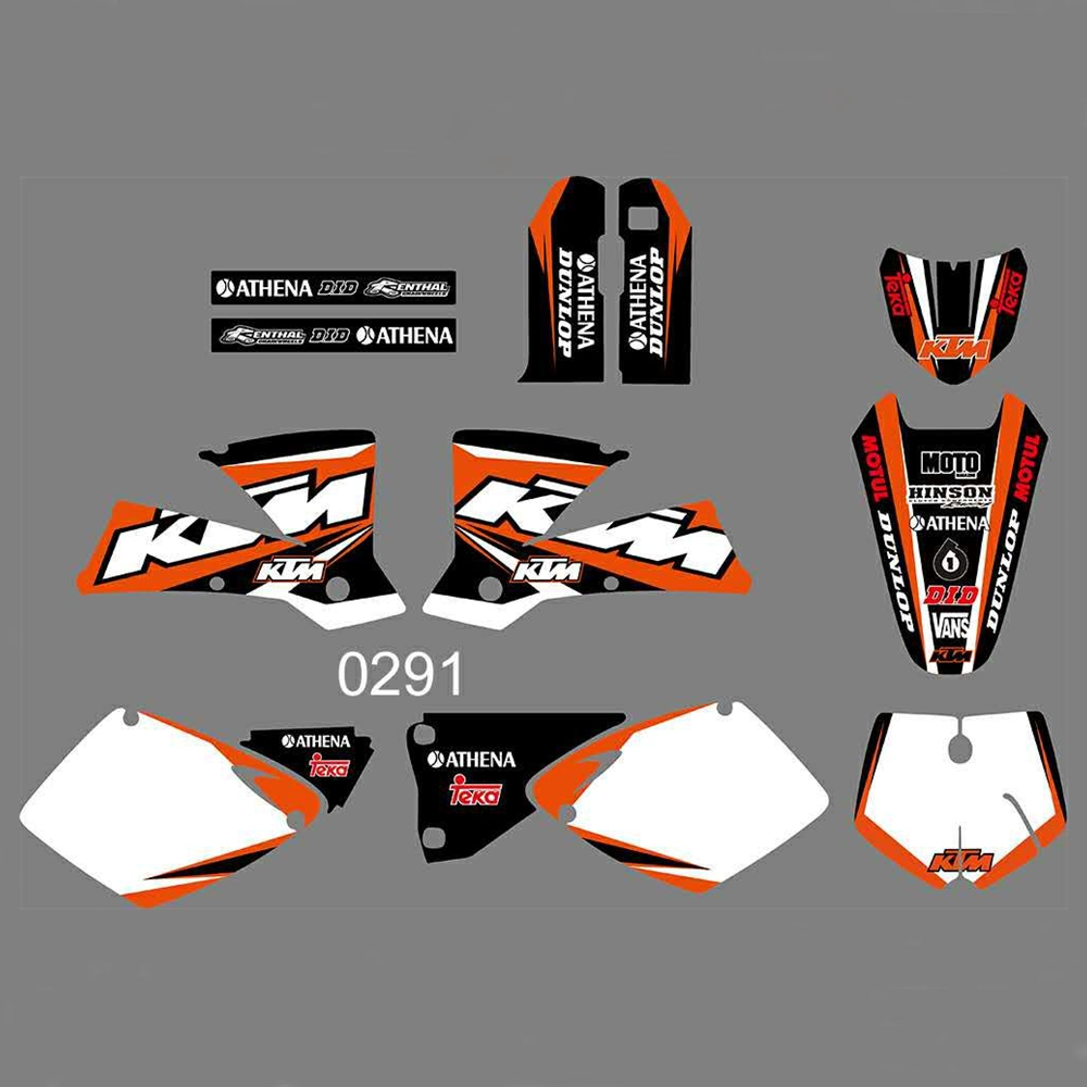 New Full Graphics Decals Stickers Custom Number Name Glossy Bright Stickers Waterproof For KTM SX 125 250 380 400 520 2001 2002