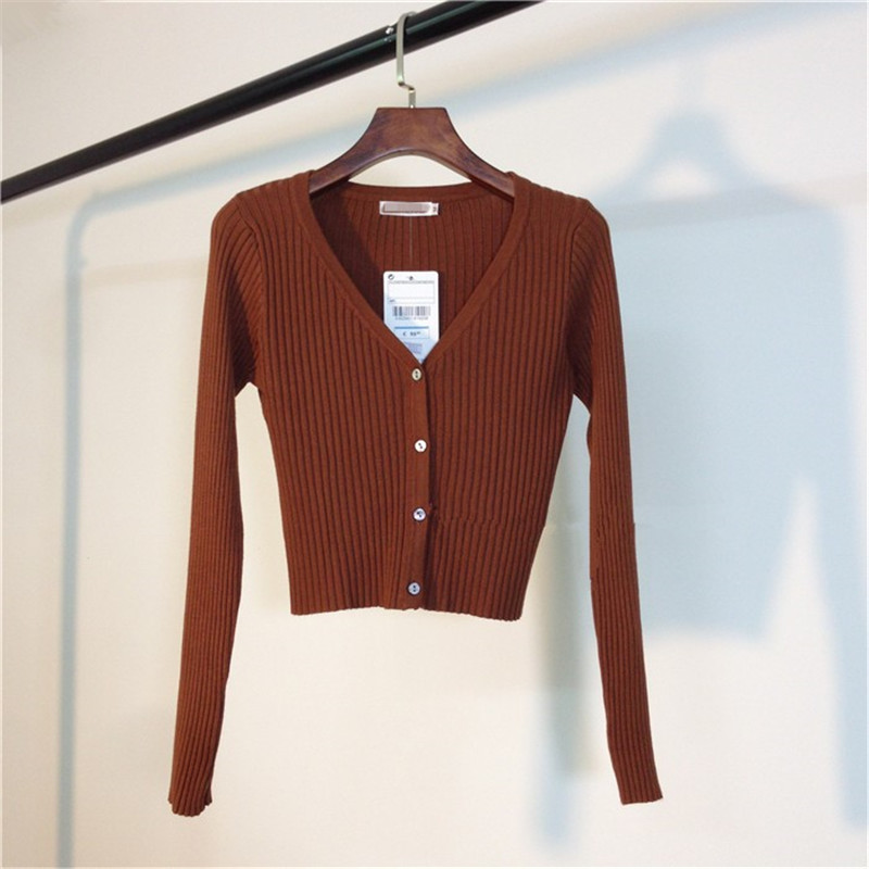 MATAKAWA Sexy Long Sleeve Buttons Women's Sweater Patchwork  2020 Fashion Ribbed  Slim Sweaters Ladies Knitted Cardigan 13