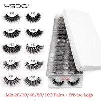 Wholesale eyelashes private logo 20/30/40/50/100 pairs 3d mink lashes custom sign false eyelash makeup mink eyelashes extension