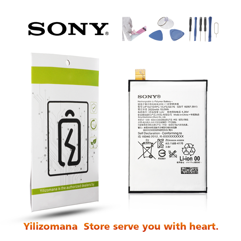 Original For SONY Xperia X Battery LIS1621ERPC For Sony F5122 Battery Sony L1 F5152 F5121 Replacement Phone Batteria 2620mAh in Mobile Phone Batteries from Cellphones Telecommunications