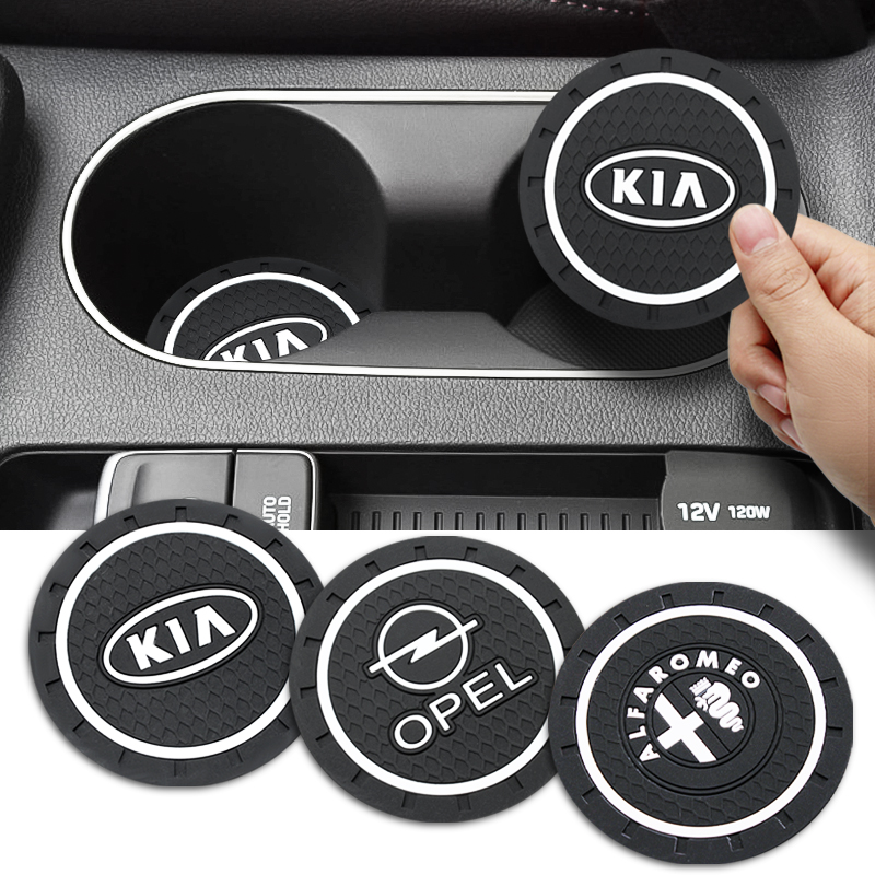 1pcs Car-Styling PVC Car Non-slip Coaster Mat Case For Ford Nissan Mitsubishi Subaru Volvo Fiat Mazda Citroen Lada KIA BMW Dodge