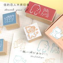 5 sztuk/zestaw słodkie zwierzaki niedźwiedzie króliki pieczątka do dekoracji drewniane i gumowe stemple Scrapbooking papiernicze DIY Craft standardowy znaczek Kawaii