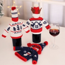 Knitted Bottle Covers Santa Claus Snowman Wine Wrap Wedding Party Decoration Bags Christmas Table