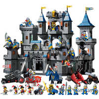 Medieval Castle Blocks Knights Crusaders Soldier Rome Spartacus Warrior Figures Model Bricks Pirates Caribbean Pirate Ship Toys