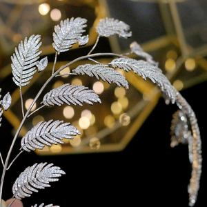 Image 5 - Luxury Zircon Bridal Jewelry Wedding Hair Accessories Leaf Hair Band Hair Band Charm Crown Party Jewelry