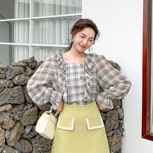 Autumn Korean Fashion Chiffon Women Blouses Ruffles Plaid Womens Tops and Plus Size XXL Lantern Sleeve Shirts